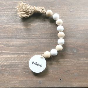 Other - NEW Farmhouse Beaded Garland White & Natural